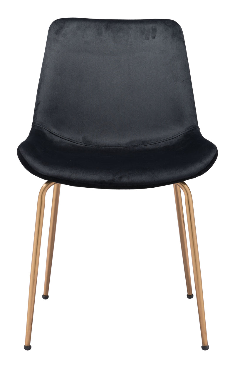 Tony Dining Chair (Set of 2) Black & Gold