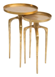 Set of 2 Como Accent Tables Antique Gold