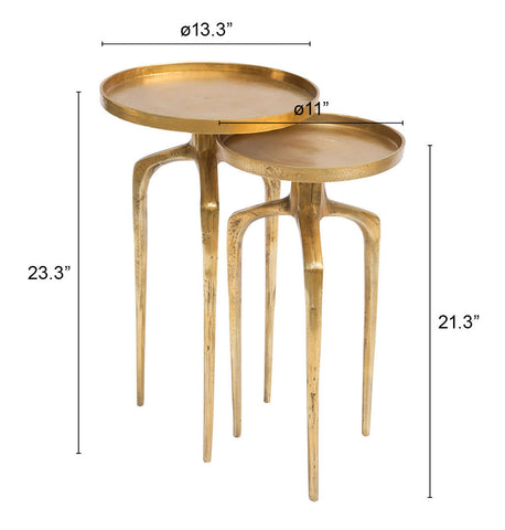 Image of Set of 2 Como Accent Tables Antique Gold