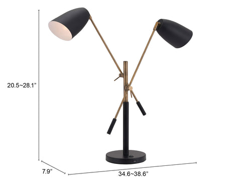 Image of Tanner Table Lamp Matte Black & Brass