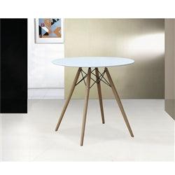 "Image of WOODLEG DINING TABLE 42"" FIBERGLASS TOP"