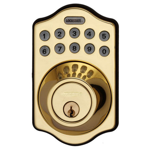 Lockstate Electronic Keyless Deadbolt - Polished Brass