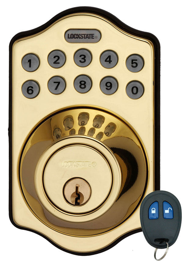 Electronic Keyless Deadbolt W/Remote - Polished Brass