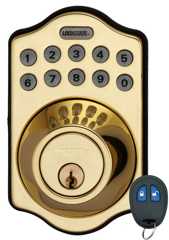 Image of Electronic Keyless Deadbolt W/Remote - Polished Brass