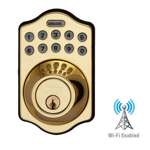 RemoteLock WiFi Electronic Deadbolt Door Lock - Polished Brass