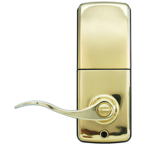 Image of Electronic Lever Keypad Door Lock - Polished Brass