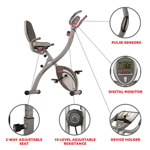 Image of Sunny Health & Fitness Folding Magnetic Semi Recumbent Upright Bike, Comfort Xl W/ High Weight Capacity and Pulse Rate