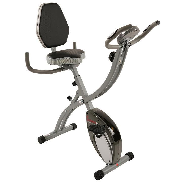 Sunny Health & Fitness Folding Magnetic Semi Recumbent Upright Bike, Comfort Xl W/ High Weight Capacity and Pulse Rate