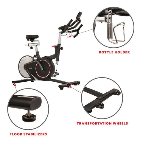 Image of Sunny Health & Fitness Magnetic Rear Belt Drive Indoor Cycling Bike, High Weight Capacity W/ Cadence Sensor and Pulse Rate