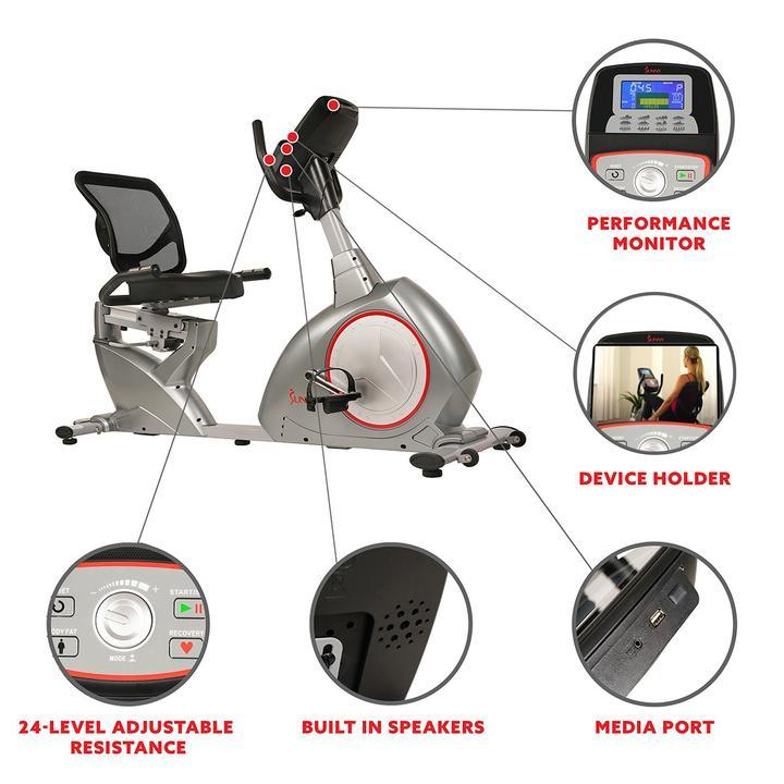 Sunny Health & Fitness Recumbent Bike Exercise Bike, Self-Powered Cycling for Usb Charging Function