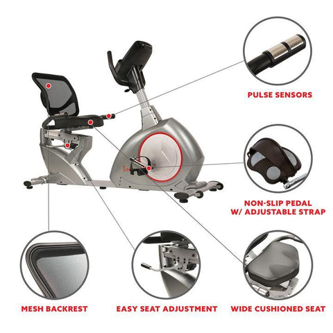 Image of Sunny Health & Fitness Recumbent Bike Exercise Bike, Self-Powered Cycling for Usb Charging Function