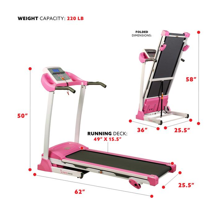 Sunny Health & Fitness Pink Treadmill W/ Manual Incline and Lcd Display