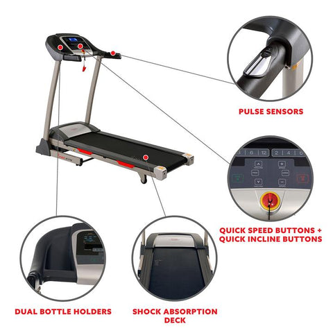 Image of Sunny Health & Fitness Portable Treadmill W/ Auto Incline, LCD, Smart App, and Shock Absorber