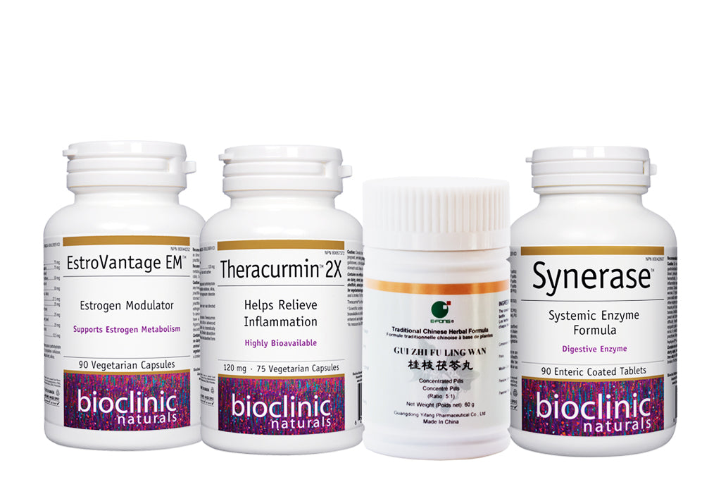 EstroVantage, Synerase, Theracumin, Cinnamon Twig and Poria are all included in this kit to treat the inflammation and pain associated with endometriosis.
