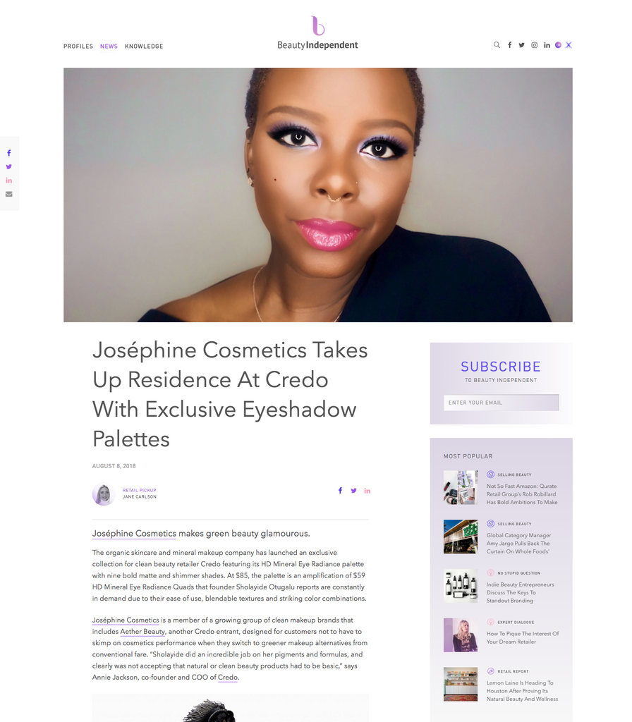 Josephine Cosmetics in Beauty Independent