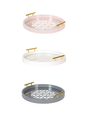 Hemsley Geometric Cut Round Tray in 3 Colours