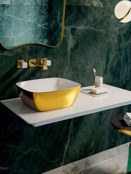 Gold & Silver Green Lux 40 Countertop Basin