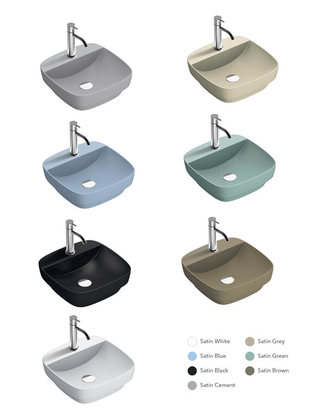 Green Lux Colori Countertop Basin 420X420 (Avail. in 7 Colour Tones)