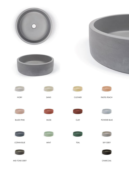 Hoop Round Concrete Basin (Avail. in 14 Colours)