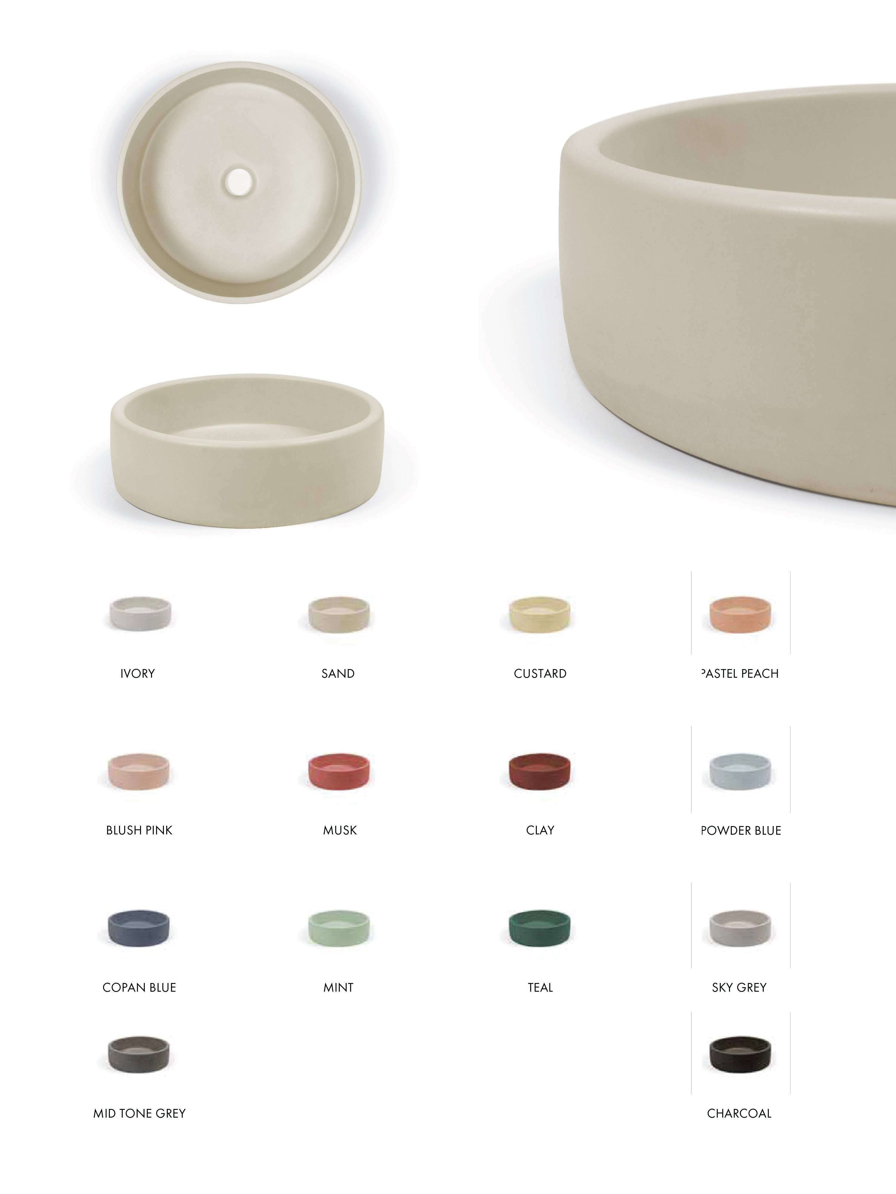 The Bowl Concrete Countertop Basin (Avail. in 14 Colours)