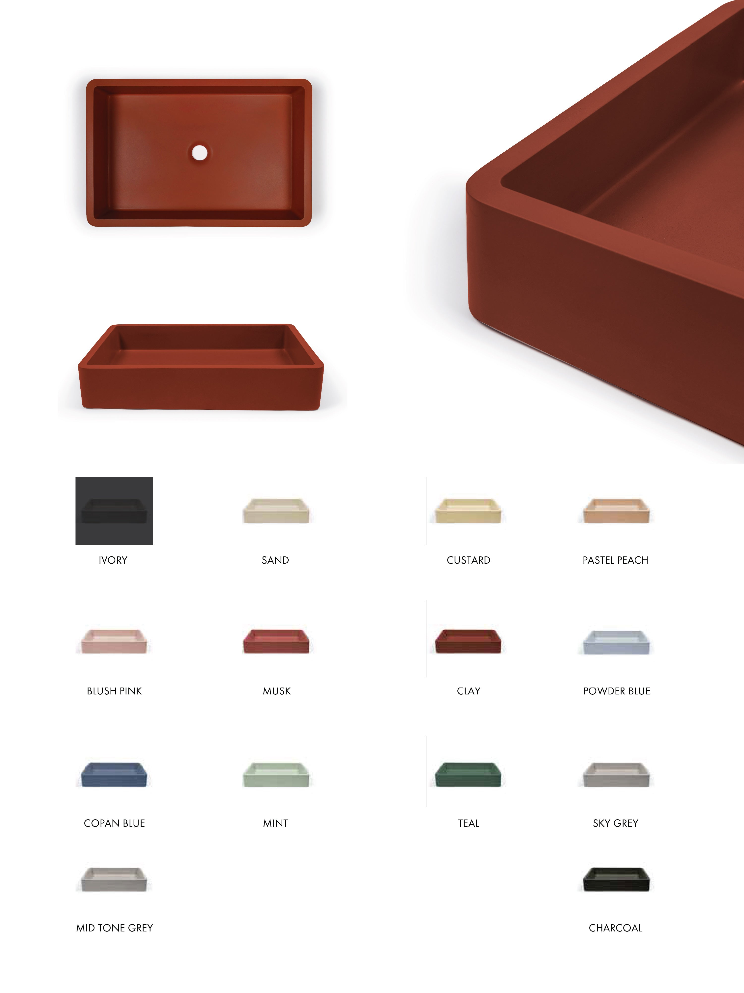 Vesl Rectangular Concrete Basin (Avail. in 14 Colours)