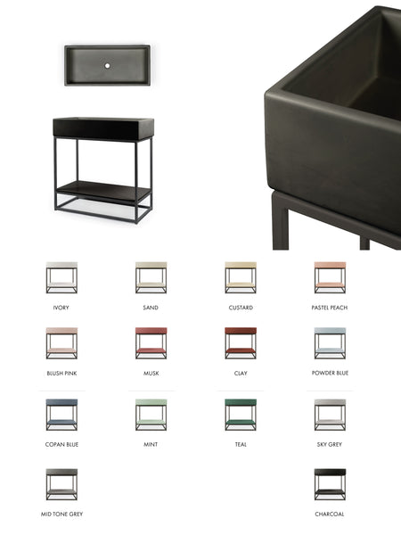 The Trough Basin Vanity Set - Includes Stand (Avail. in 14 Colours)