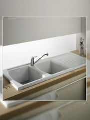 LUSITANO Sink 2-bowl w/drainer #7222