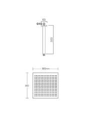 Zaris Square Shower Rose with Arm #HC-SQ121+HC-08C