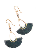 Load image into Gallery viewer, Black and Gold Thread Fan Earrings with Swarovski Crystals. Trendy Earrings. Dangle Boho Earrings.