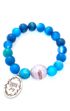 Load image into Gallery viewer, Blue Agate 'Choose Joy' Charm Bracelet, Healing Large Bead Bracelet, Improve Concentration, Yoga Jewelry for Women