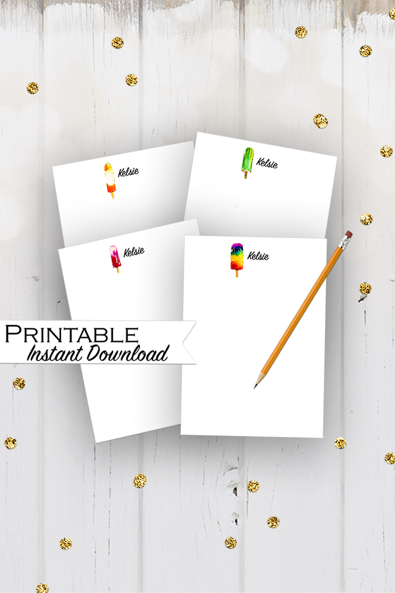 Personalized Popsicle Cards, Printable Stationary, Popsicle Party, Popsicle Stationary, Kids Note Card, Name Note Cards, Popsicle Watercolor