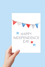 Load image into Gallery viewer, Happy Independence Day, July 4th Card, 4th of July Card, Red White and Blue, Banner Card, Printable Card
