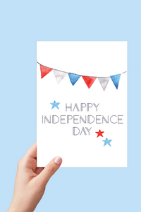 Happy Independence Day, July 4th Card, 4th of July Card, Red White and Blue, Banner Card, Printable Card
