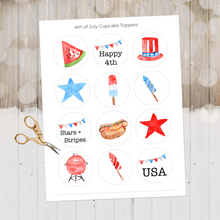 Load image into Gallery viewer, 4th of July Decor, July 4th Cupcake Toppers, Independence Day Printable