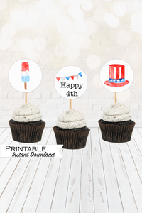 4th of July Decor, July 4th Cupcake Toppers, Independence Day Printable