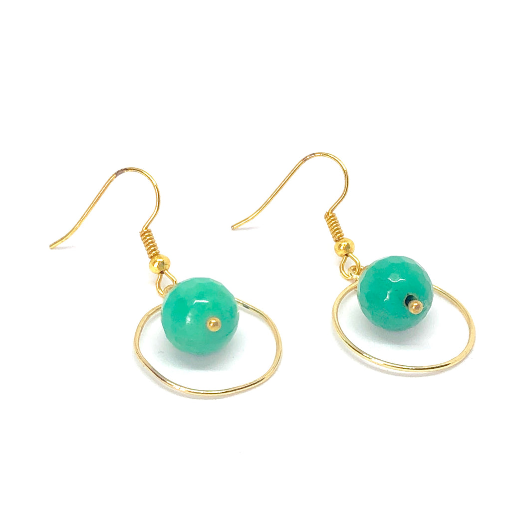 Gold Circle with Floating Teal Beads - Dangle Geometric Earrings