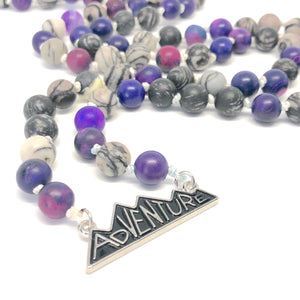 Adventure purple and black Mala Necklace close up