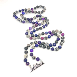 Adventure purple and black Mala Necklace