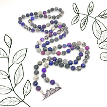 Load image into Gallery viewer, Adventure Pendant, Purple Jasper and Agate Mala Necklace with overlay