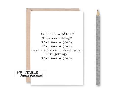 Biden New Mom Card, Biden, Mom Life Card, Political Funny, Printable Card