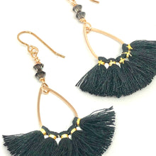 Load image into Gallery viewer, Black and gold thread fan earrings with Swarovski crystals