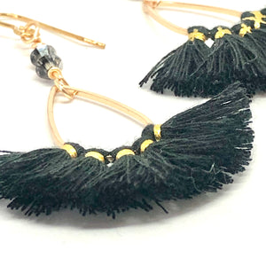 Black and gold thread fan earrings with Swarovski crystals close up