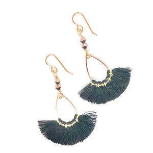 Black and gold thread fan earrings with Swarovski crystals