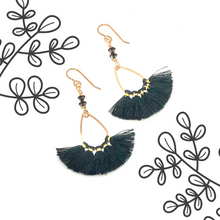 Load image into Gallery viewer, Black and gold thread fan earrings with Swarovski crystals with overlay