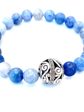 Load image into Gallery viewer, Blue Aventurine Mala Bracelet. Blue and Silver Bracelet. Stretch Healing Bracelet. Yoga Jewelry for Women.