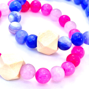 blue Agate and pink Jade essential oil diffuser bracelet with a wooden geometric bead