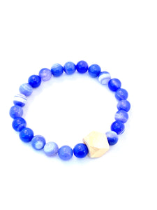 blue Agate essential oil diffuser bracelet with a wooden geometric bead
