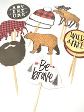 Load image into Gallery viewer, Adventure Theme, Nature Cupcake Toppers, Buffalo Plaid Party, Hipster Party Decor, Wild and Free, Be Brave, Lumberjack Party