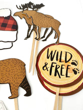 Load image into Gallery viewer, Adventure Theme. Nature Cupcake Toppers. Buffalo Plaid Party. Hipster Party Decor. Wild and Free. Be Brave. Lumberjack Party.