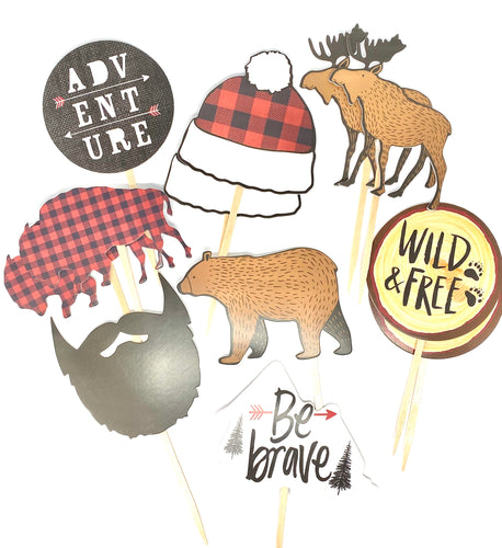 Adventure Theme. Nature Cupcake Toppers. Buffalo Plaid Party. Hipster Party Decor. Wild and Free. Be Brave. Lumberjack Party.
